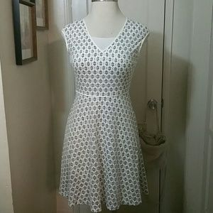 MAGGY LONDON cream black floral lace dress